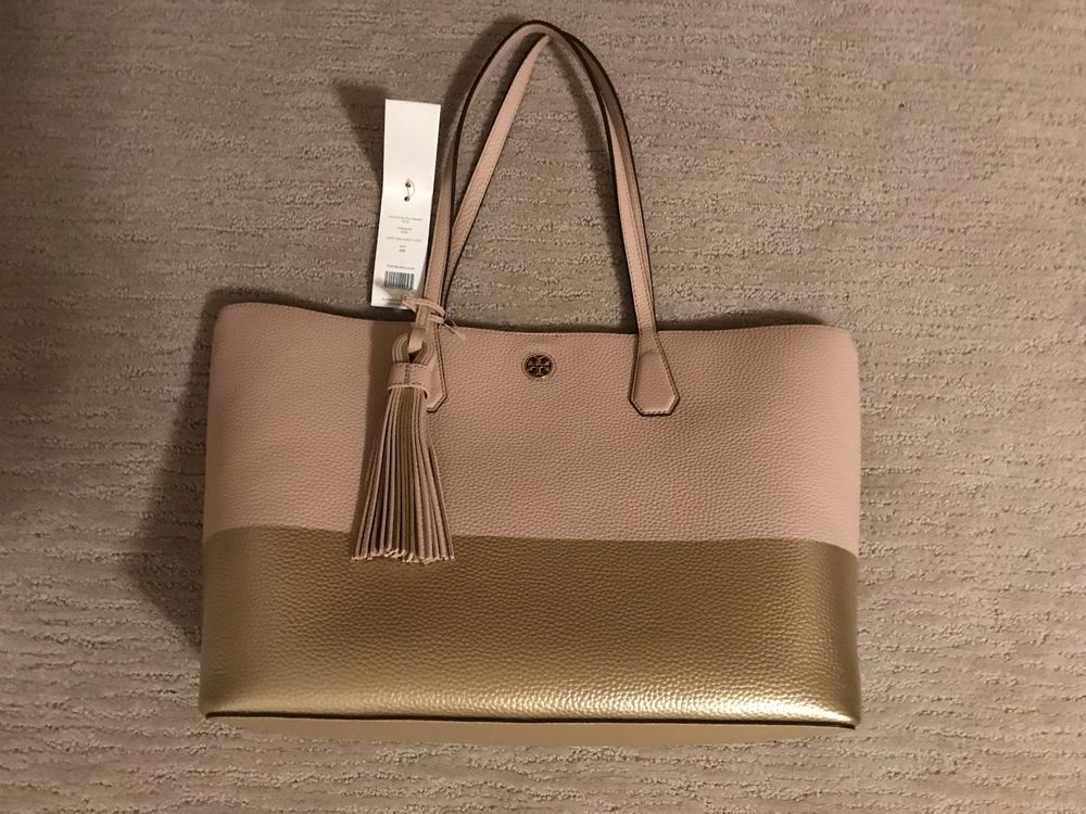 e7997395e14 NEW Tory Burch Color-Block Perry Tote Light Oak   Gold