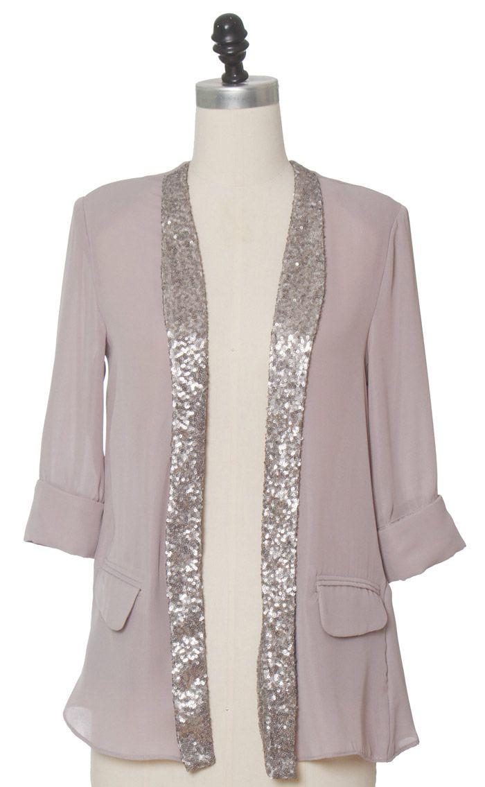 Juniors Clothing - Chloe Loves Charlie - Split Silver Jacket - chloelovescharlie.com   $42.00