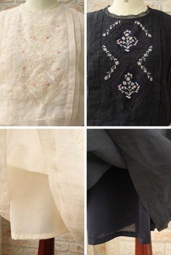 【送料無料】nesessaire/ネセセアレース切り替えカラフルハンド刺繍ワンピース(全2色)