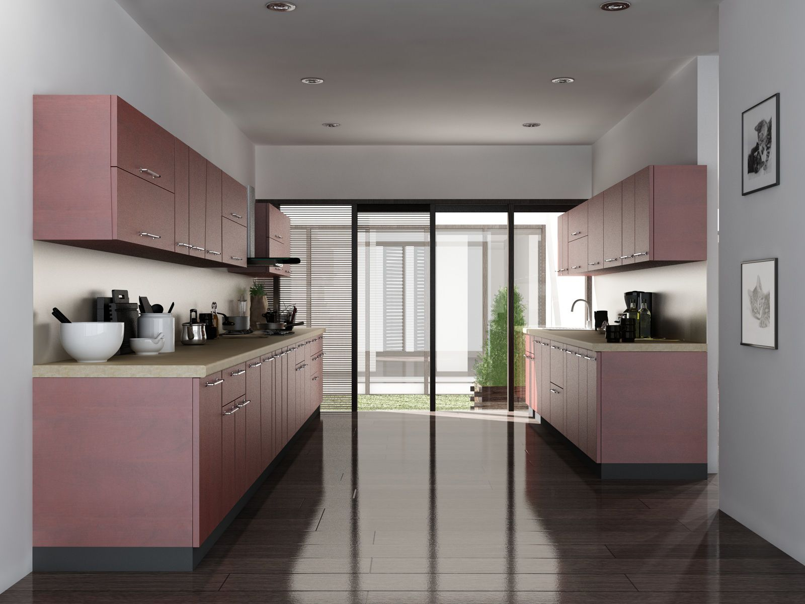 Parallel shaped modular kitchen parallel shaped modular for Modular kitchen shelves designs