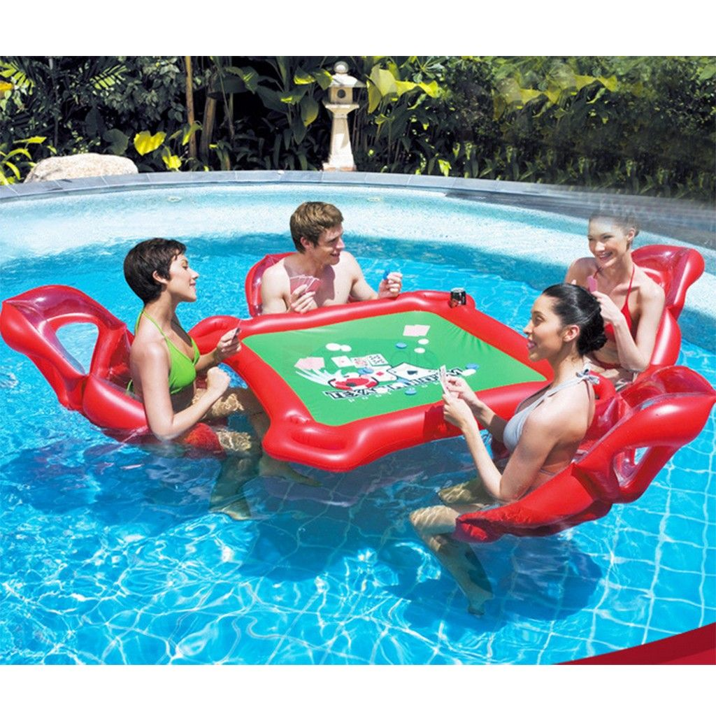Inflatable Floating Card Table And 4 Chairs Poker Floats Set