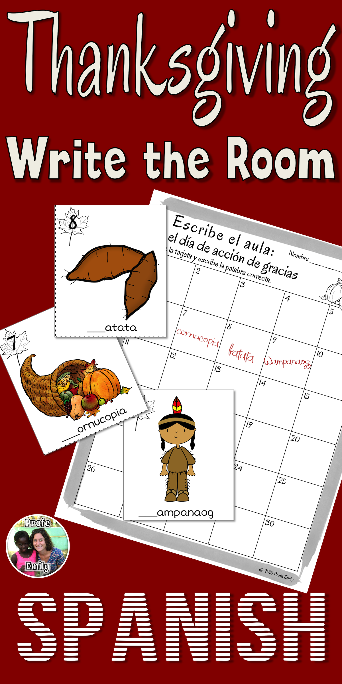 Thanksgiving Spanish Read Write The Room