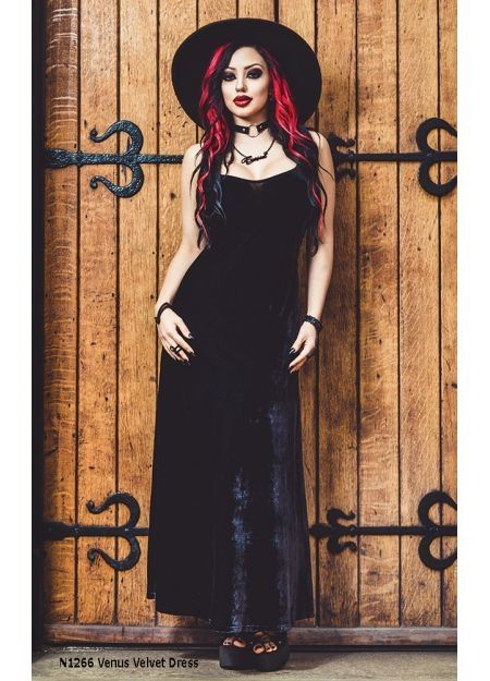cf99aa5e6c1 Stunning long black velvet Venus A-line dress by Necessary Evil. Made out  of sumptuous
