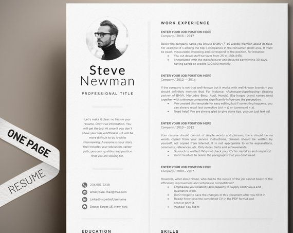 Modern Man Resume Template For Word Professional Executive Ma