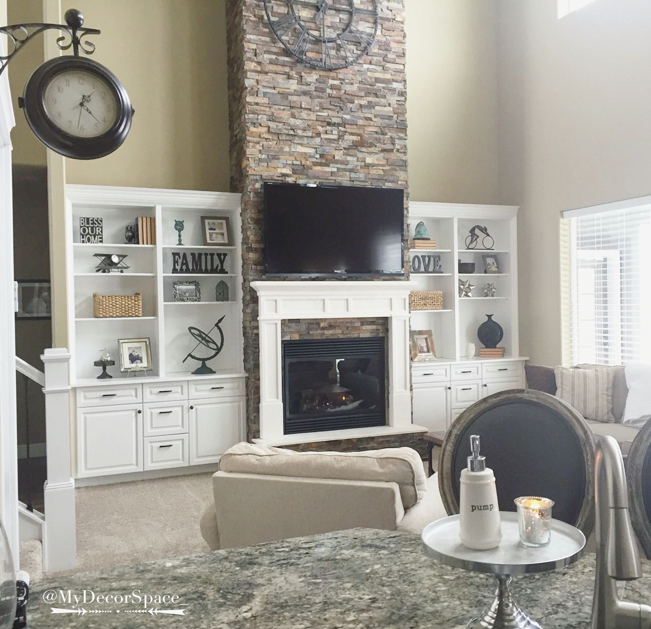Great Room Family Room Two Story Great Room Two Story Family Room Vaulted Ceiling Living Room Built Ins Built In Around Fireplace House Interior Design Bedroom