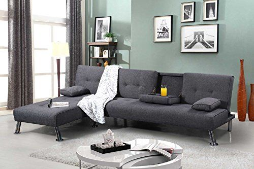 Groupon Goods Global Gmbh New York Chaise Longue Or Three Seater Fabric Sofa Bed With Free Delivery