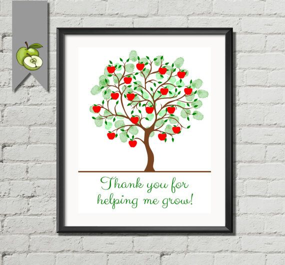 Teacher Appreciation Gift Retirement apple Fingerprint Tree - family tree template in word