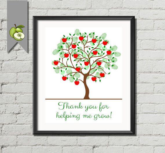 Teacher Appreciation Gift Retirement apple Fingerprint Tree - family tree template in word