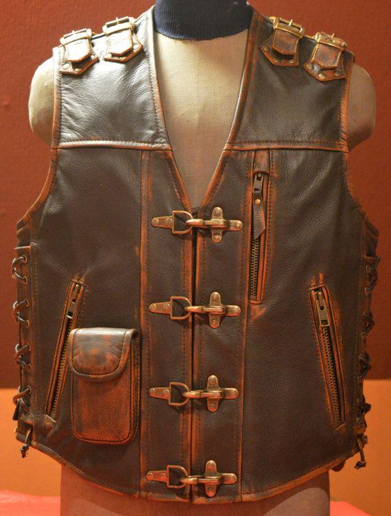 Biker Vest Handmade Genuine Leather 1 6mm Brown Leather With Abrasion Effect Mens Leather Vest Biker Vest Motorcycle Vest