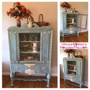 China Cabinet with Chicken Wire. Distressed Antique Furniture (diy).  Antique Table,
