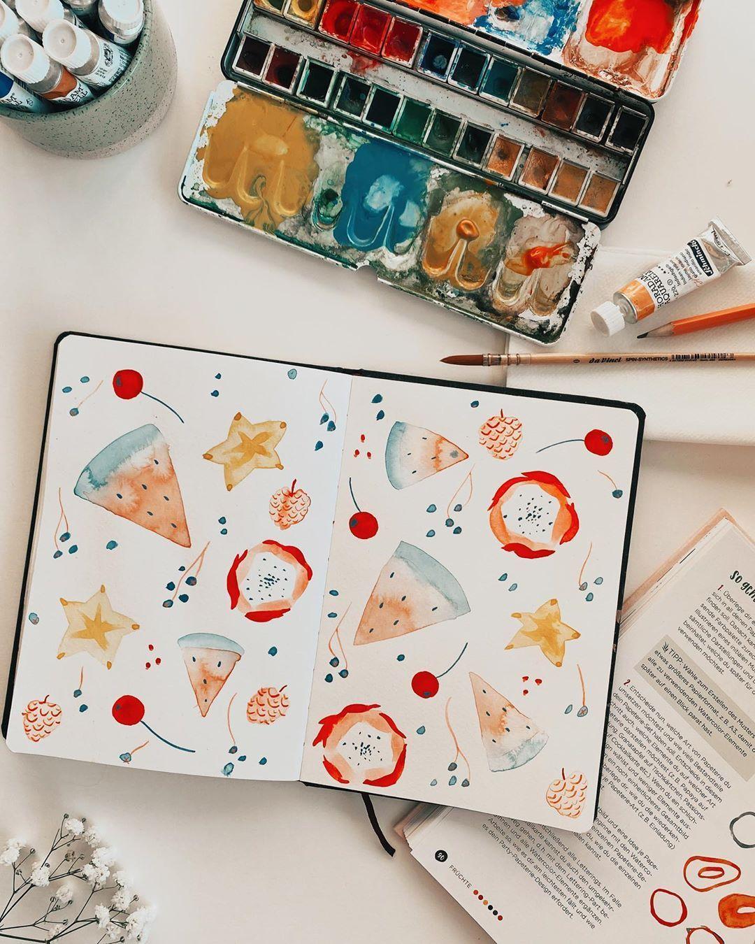 "Tanja von Die Handletterei on Instagram: ""#handletteringmeetsillustration #watercolordaily #funwithfruit ✨ . . . #watercolorillustration #watercolorfruit #watercolor_art…"""