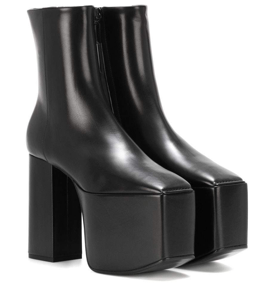 new product genuine shoes buy cheap Balenciaga - Leather platform ankle boots - Balenciaga's ...