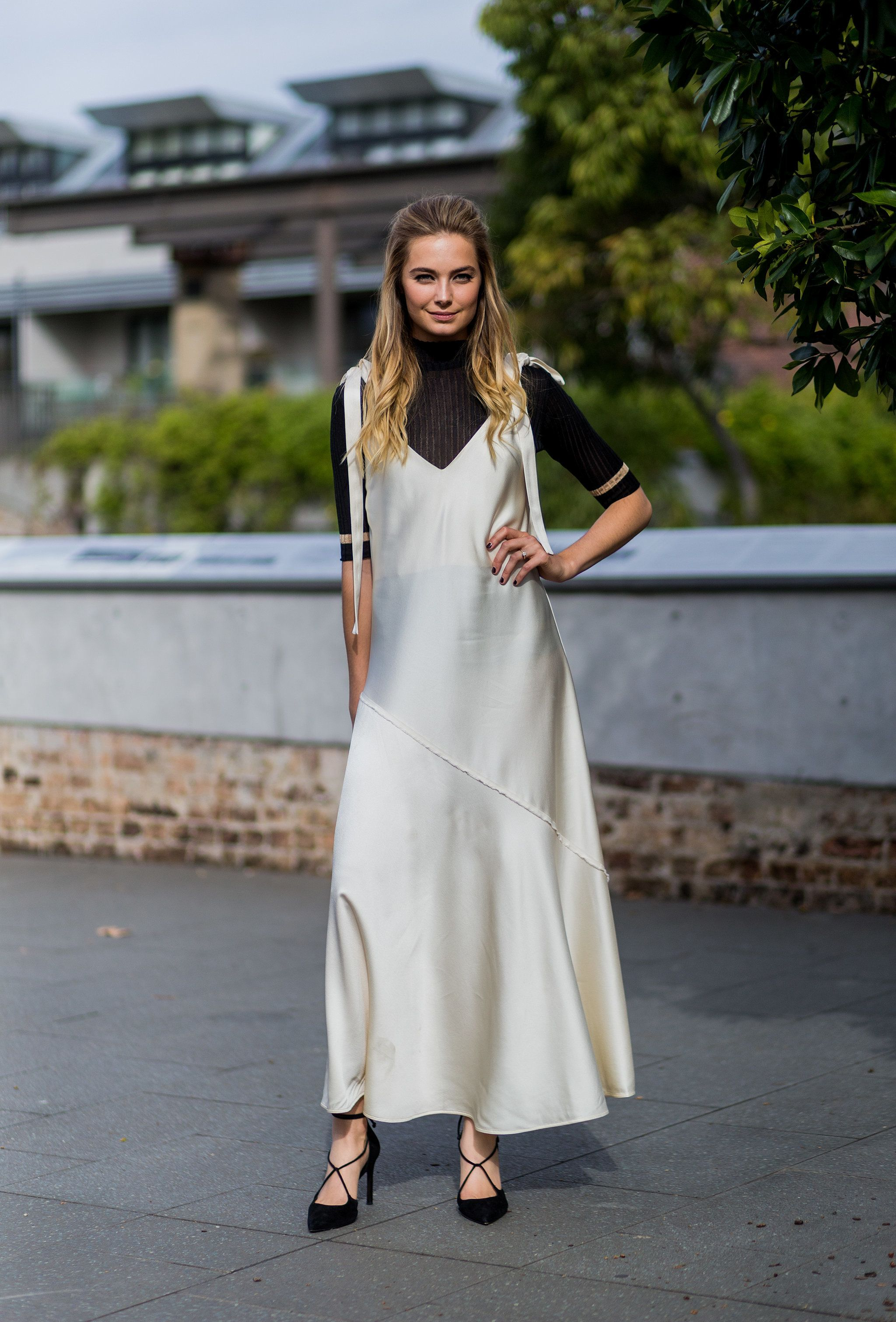 A Silk Slip Is Street Style Ready With Fancy Shoes and a ...