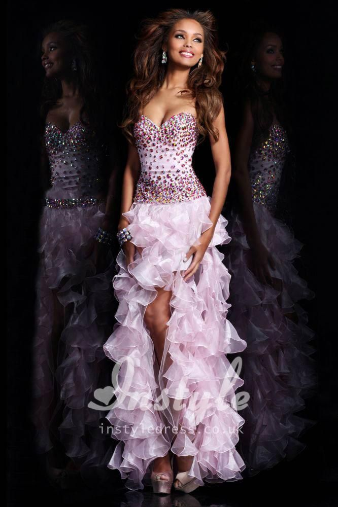 Strapless High Low Tiered Ruffled Prom Dress With Jeweled Bodice