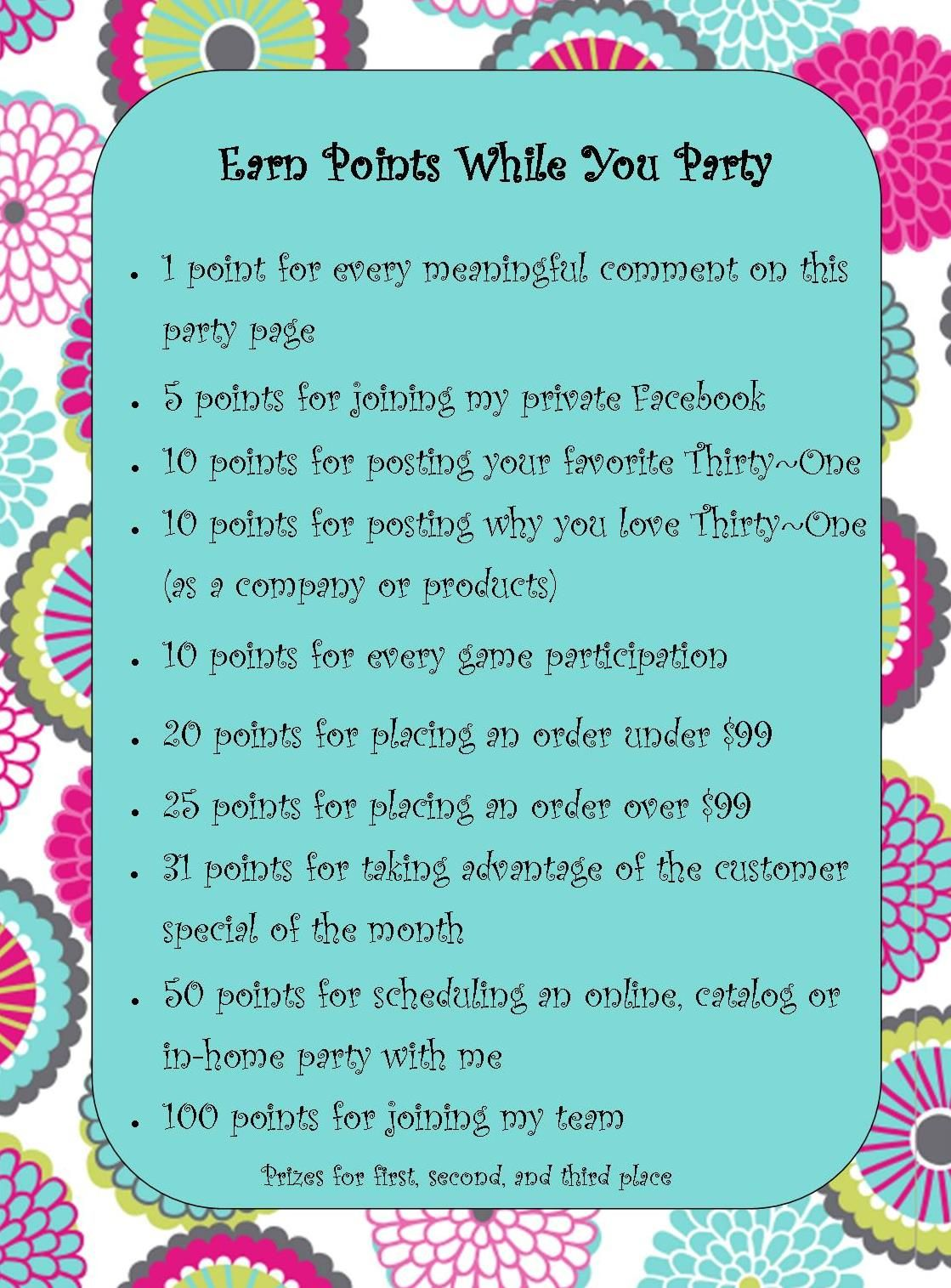 31 thirty one party points partygames thirtyonepartygames www