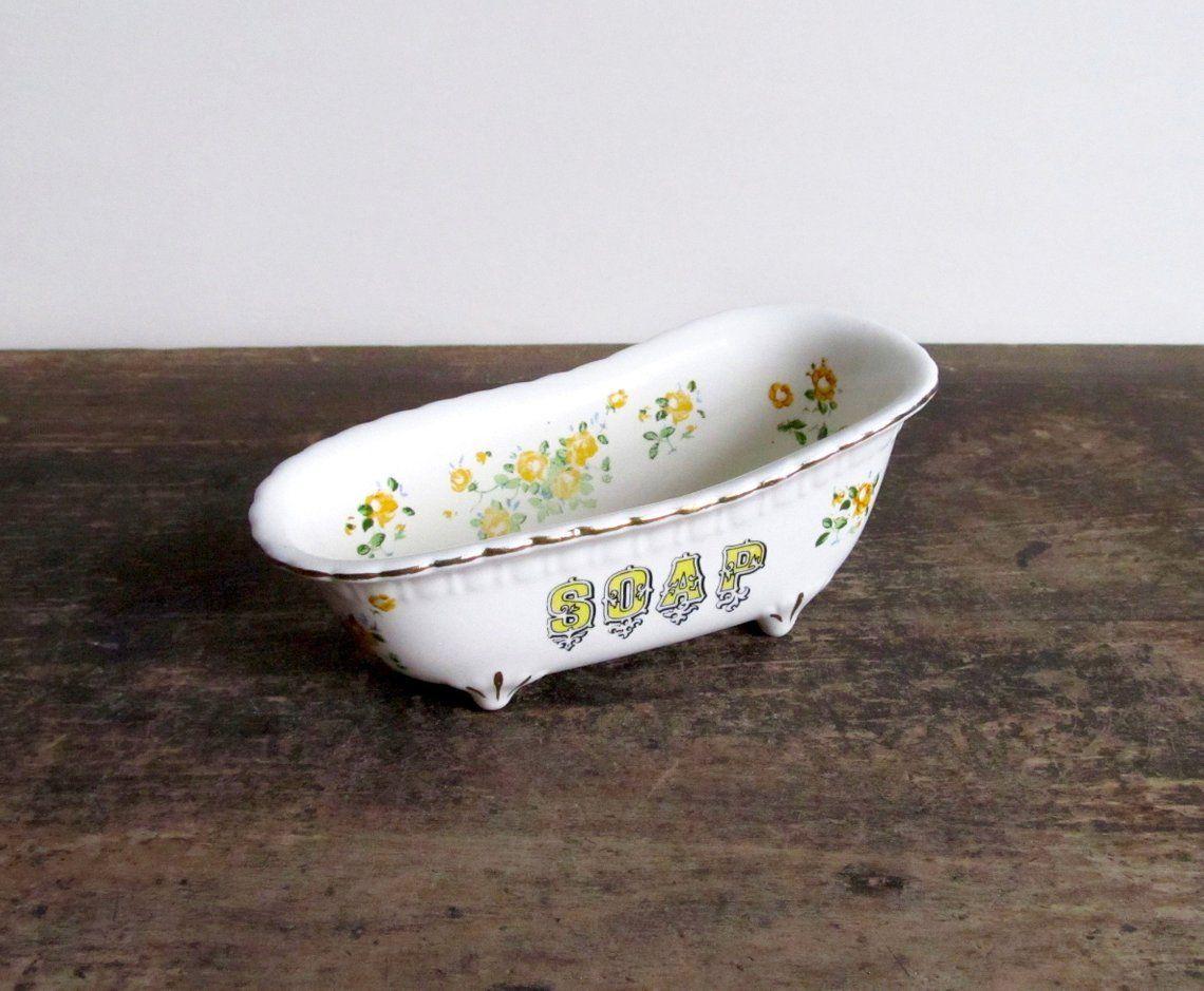 Vintage Ceramic Clawfoot Bathtub Soap Dish Vintage Ceramic Clawfoot