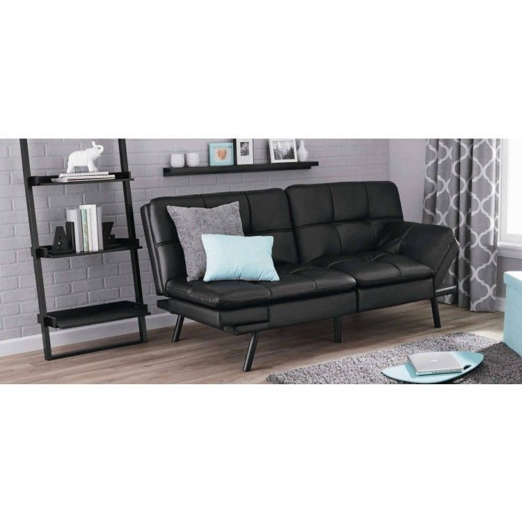 Black Sofa Bed Futon Set Faux Leather Adjustable Sleeper Couch