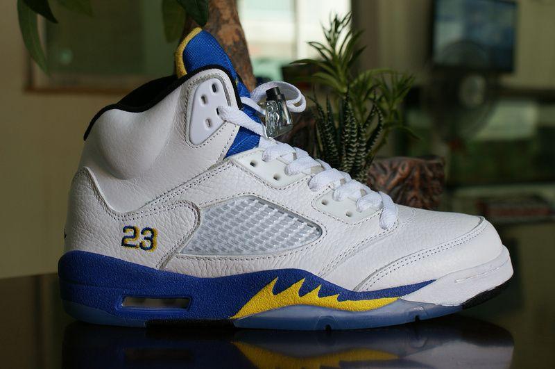 Air Jordan 5 White Blue Yellow