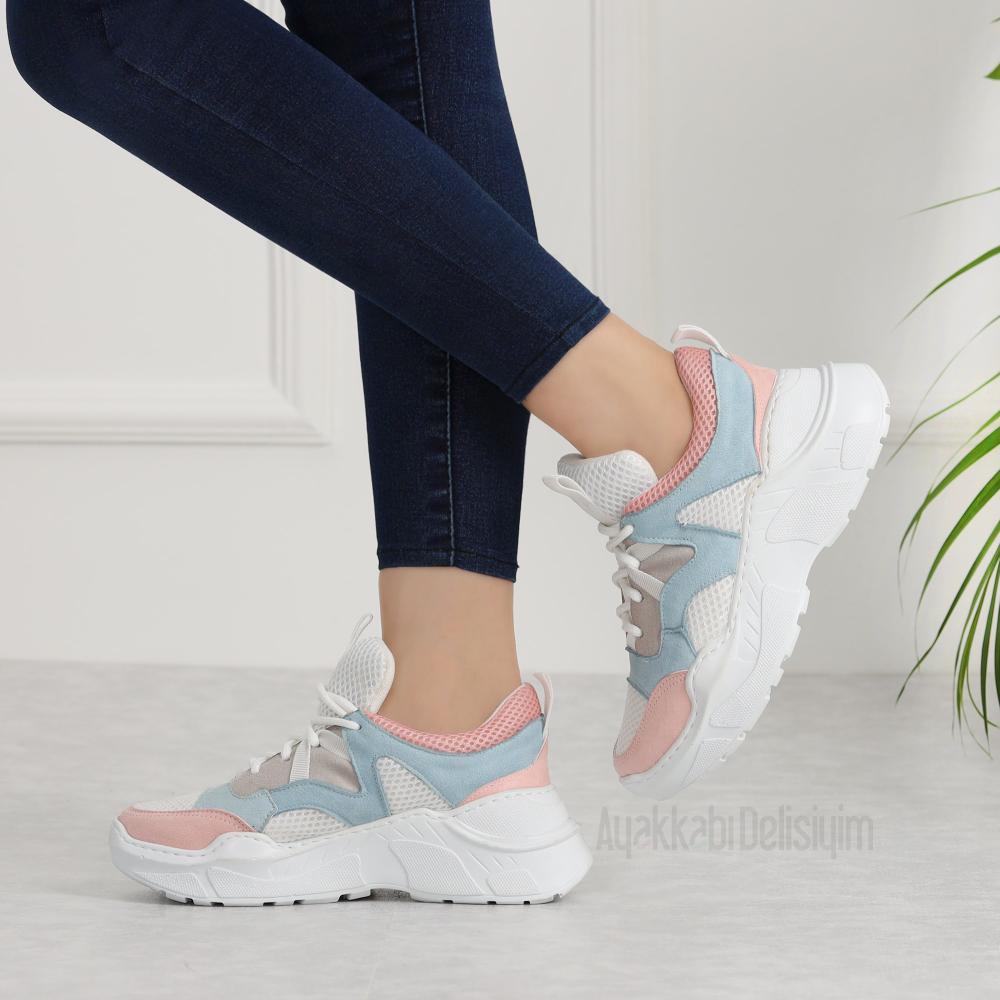 Kosala Beyaz Mavi Pudra Kalin Taban Kadin Spor Ayakkabi Mavi Ayakkabilar Sneaker