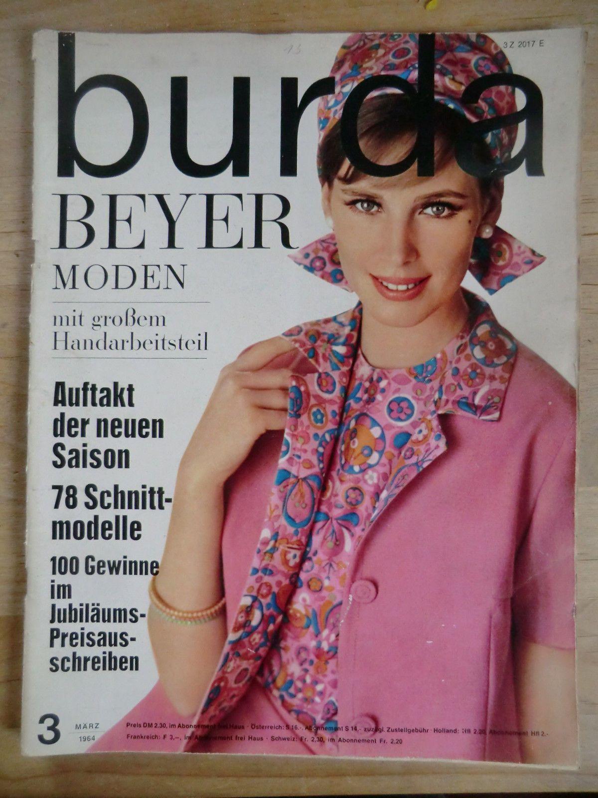 Burda Beyer Moden / Heft 3/ März 1964 mit 2Schnittbögen + A. Heft ...