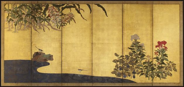 "Detail 2: ""Maize and Coxcomb"" (Edo period, 1615-1868), one of a pair of six-panel folding screens and consisting of ink, colors, and gold on paper, emphasizes depiction."