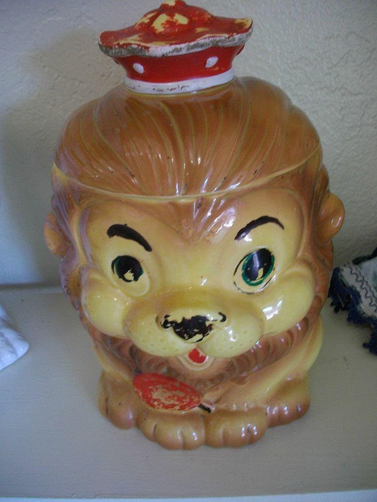 1950's Cookie Jars S Vintage Lion Cookie Jar Made In Japan With Red Crown And Sucker