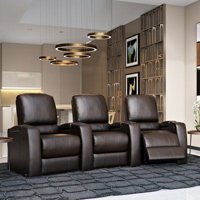 OctaneSeating Storm XL850 Home Theater Lounger (Row of 3) Color: Brown, Type: Power