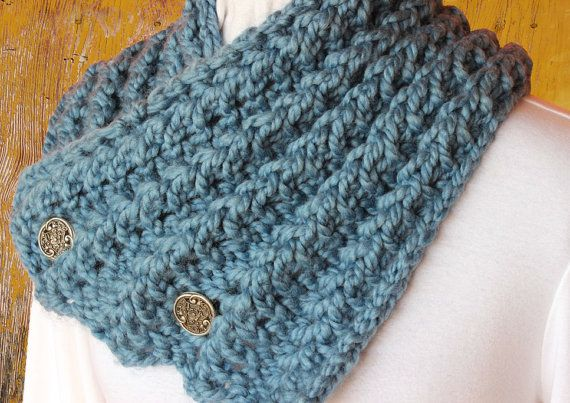 Knit Cowl Pattern With Button Chunky Yarn Scarf Patterns Chunky