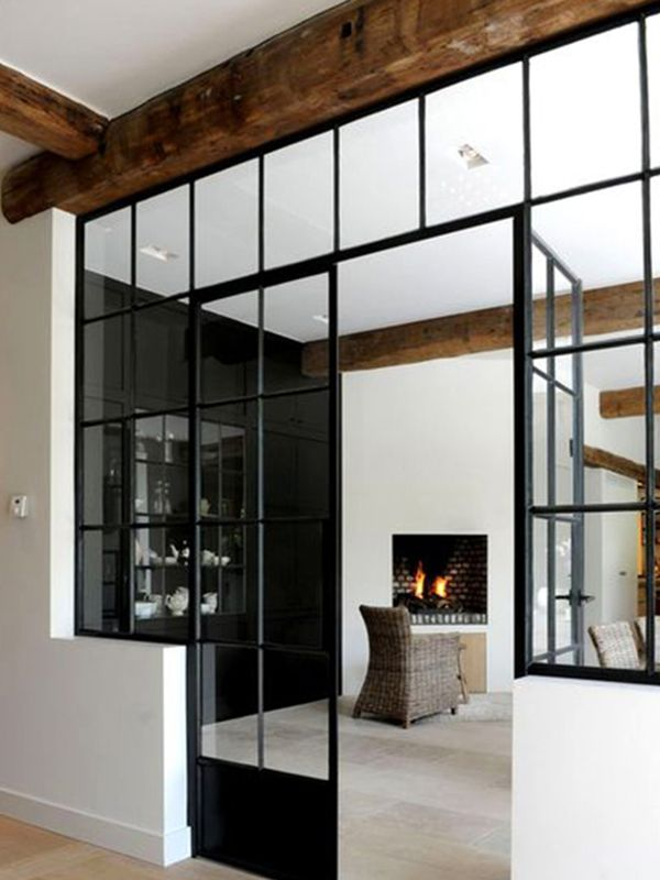 Internal Glass Walls Separation With Style French Doors