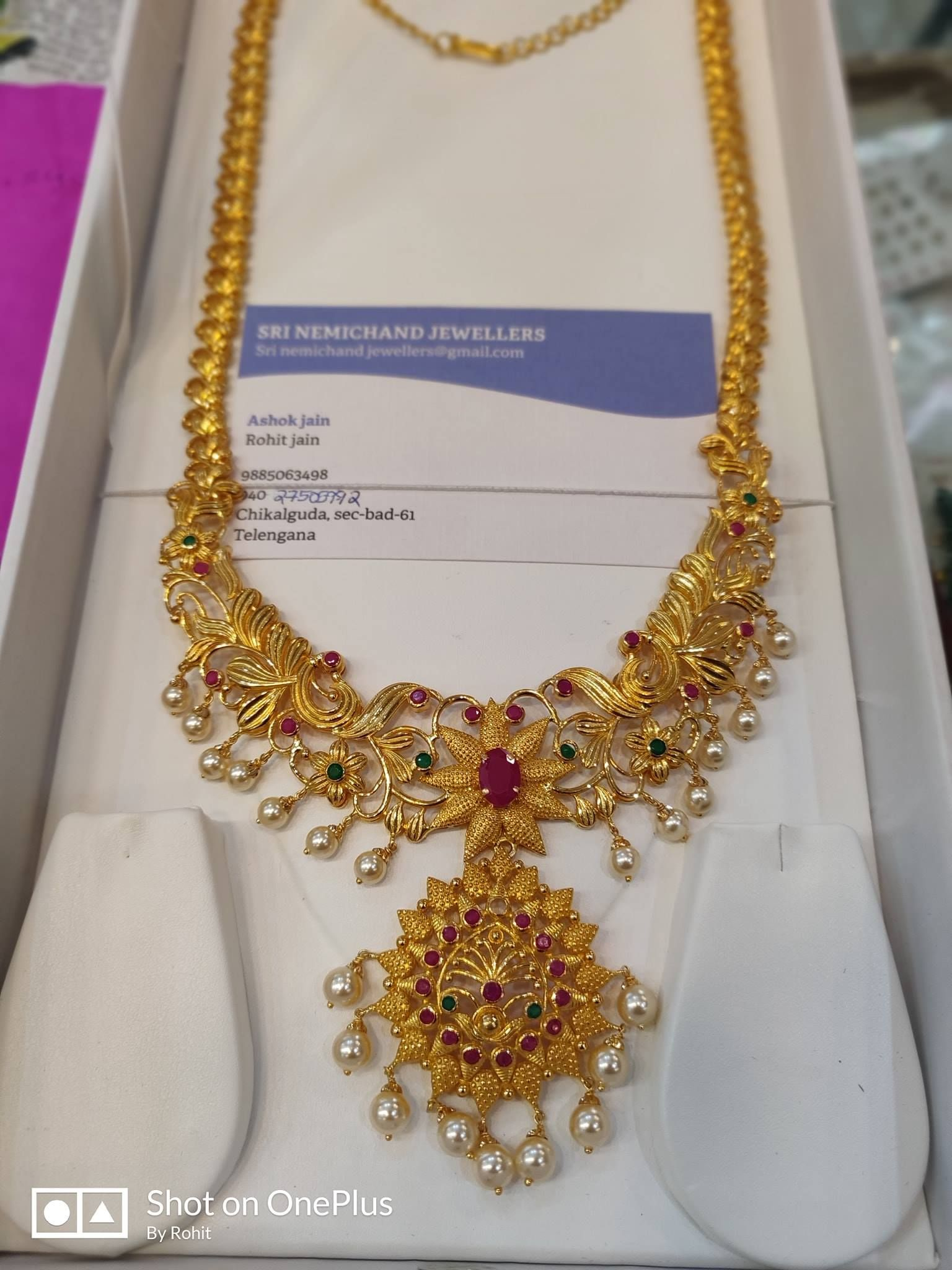 Wedding decorations rose gold october 2018 Beautiful  grams gold long haaram with pearl hangings Long haaram