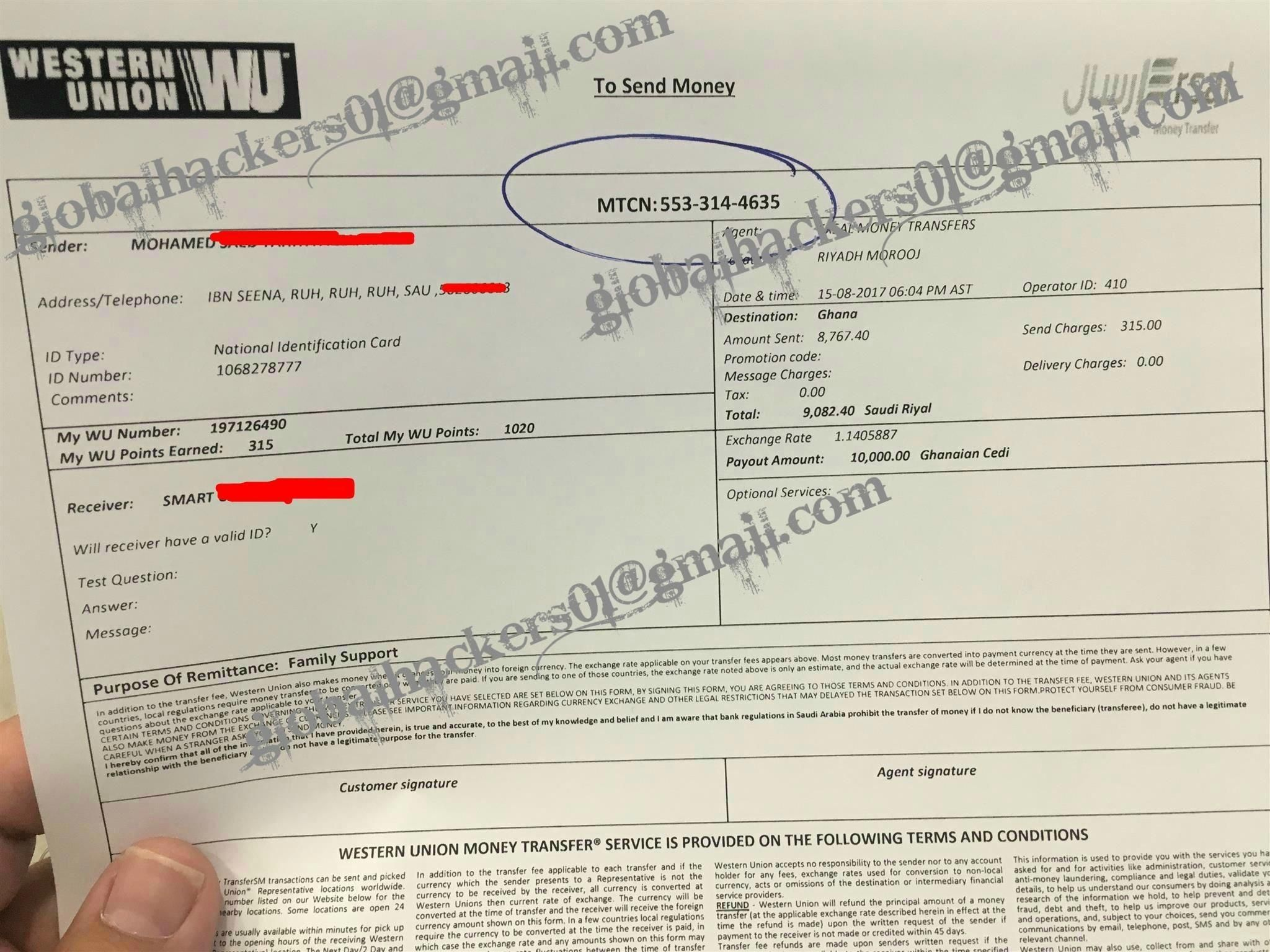 sample receipt of western union money transfer  Banking | Western union money transfer, Western union ...