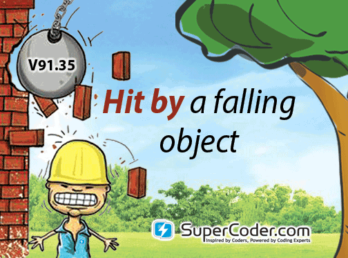 Hit by a falling object! There is a code for that