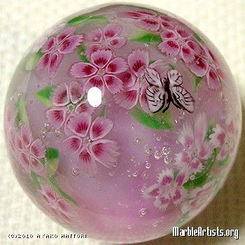 Glass Marbles - Pink Flowers and Butterfly