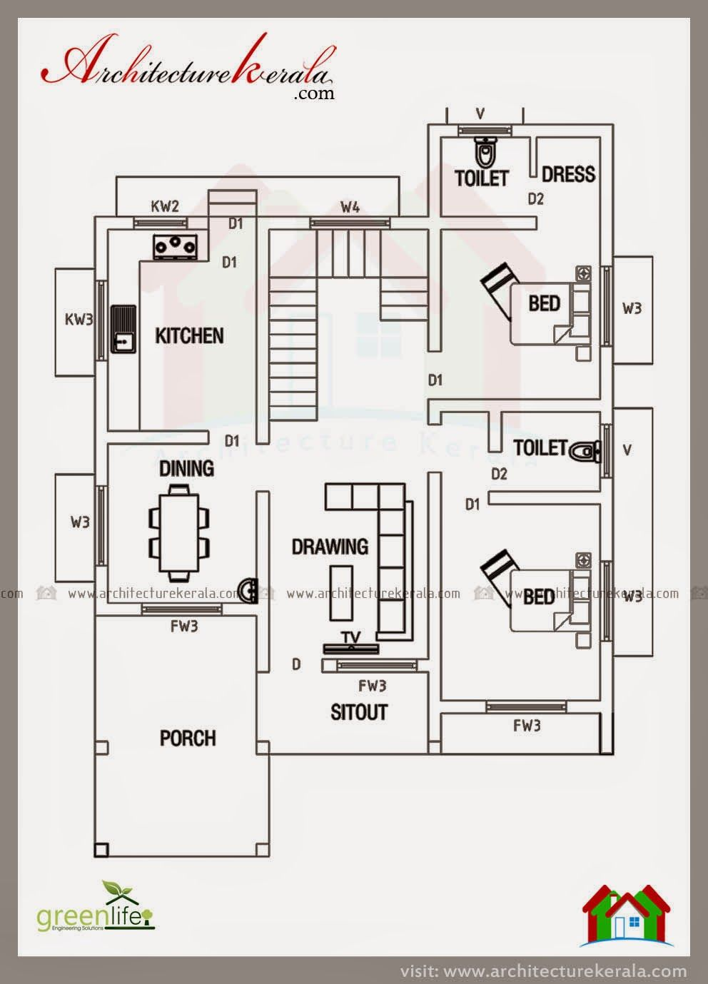 Below 2000 Square Feet House Plan And Elevation Architecture Kerala 2bhk House Plan Duplex House Plans House Layout Plans