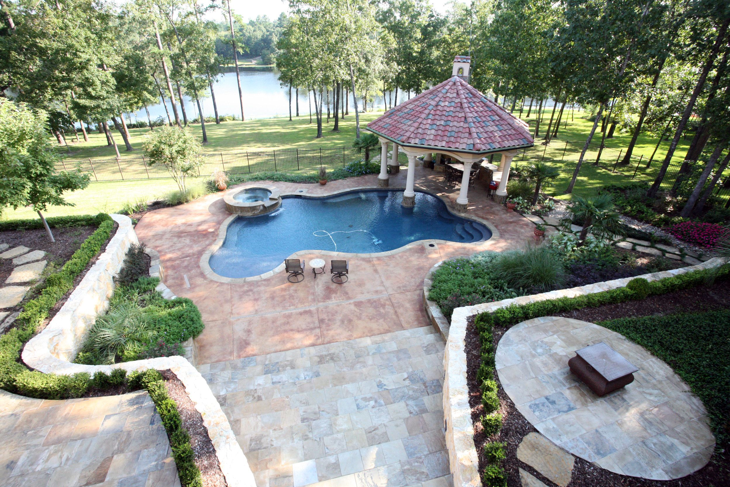 Backyard Pool And Outdoor Kitchen Designs. Mediterranean Style ... on small garden spa, backyard spa, outdoor swimming pool with spa,