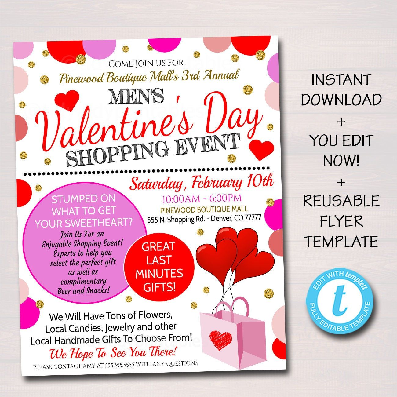 Editable Valentine S Day Shopping Flyer Boutique Show Etsy In 2020 Flyer Template Printable Shopping Event