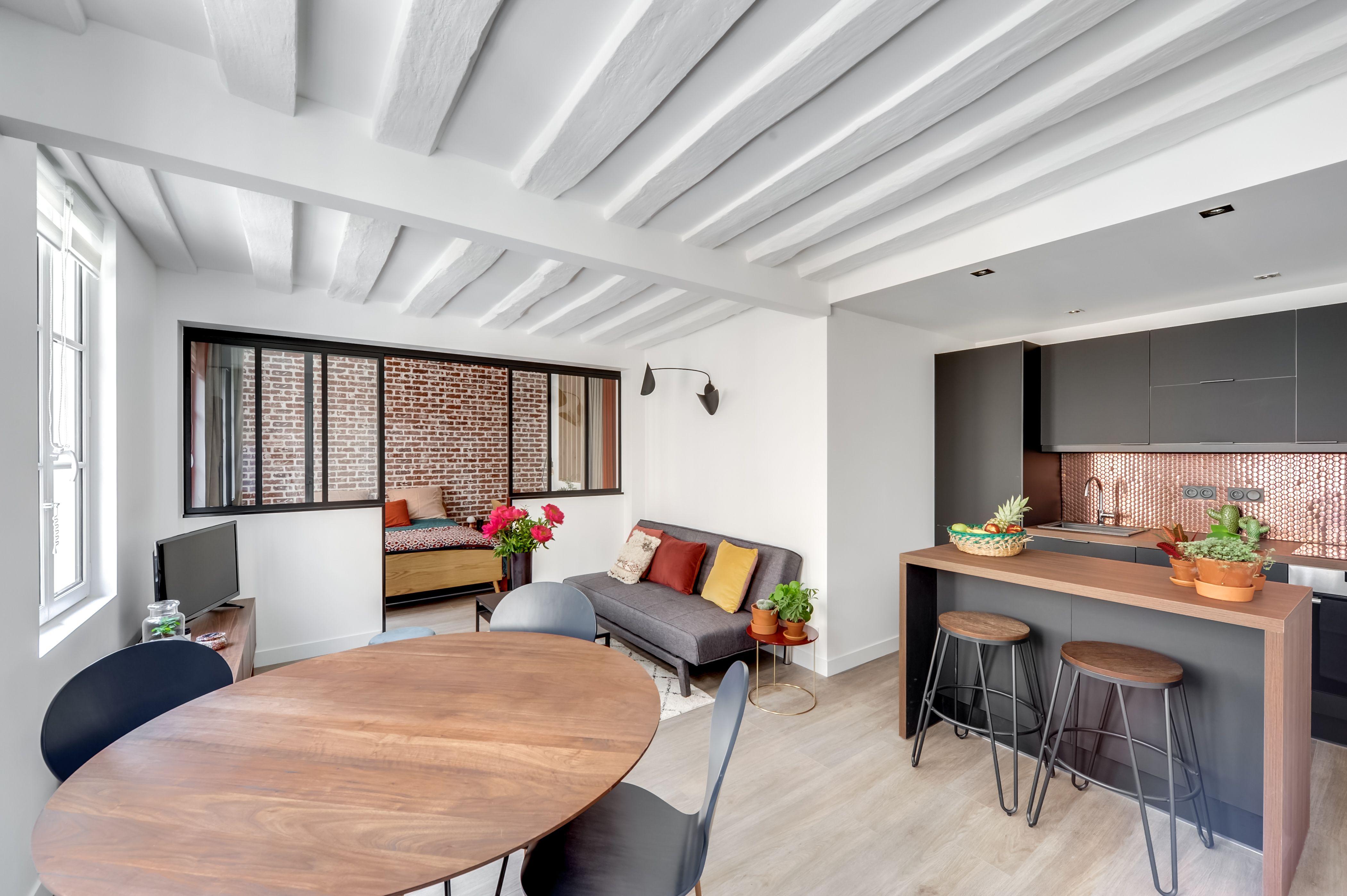 Salle manger cuisine salon r novation compl te d 39 un Salon salle a manger design