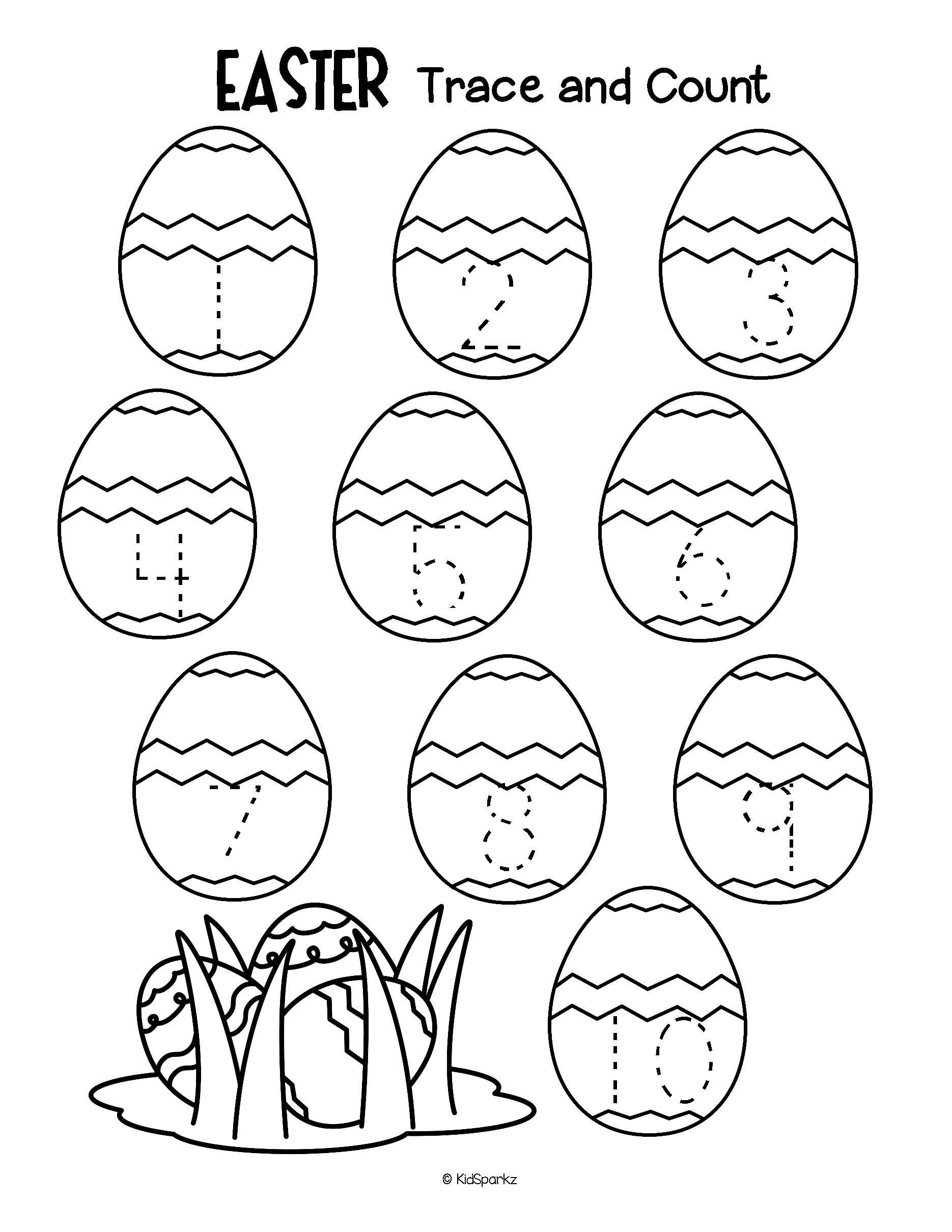 Easter Trace And Count 1 10 Numbers Fine Motor Preschool Free