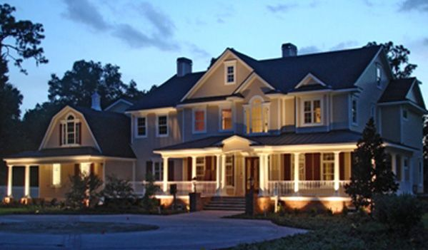 Porches And Columns Are A Perfect Focal Point For Residential Exterior Lighting Outdoor Lighting Light Architecture Facade Lighting