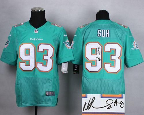 Cheap Nike Dolphins #93 Ndamukong Suh Aqua Green Team Color Men's Stitched  for sale