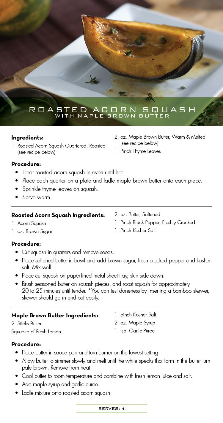 Seasons 52 Recipe For Roasted Acorn Squash With Maple Brown Butter With Images Recipe For Roasted Acorn Squash Restaurant Recipes Recipes