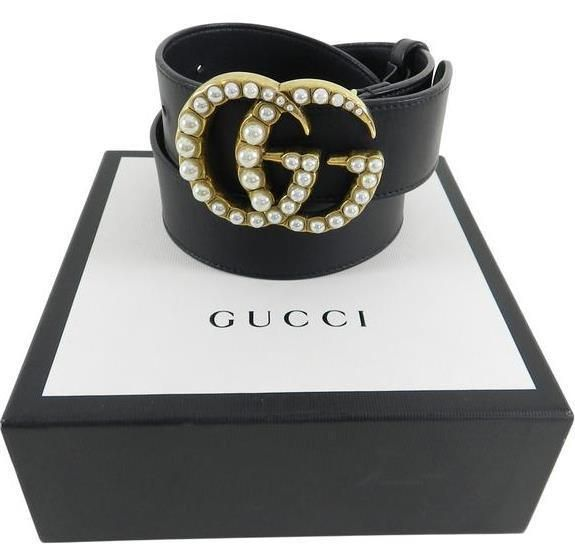 55c242a7f49 Gucci Pearl Double G Black leather Belt size 100cm fits 34-36  fashion   clothing  shoes  accessories  womensaccessories  belts (ebay link)