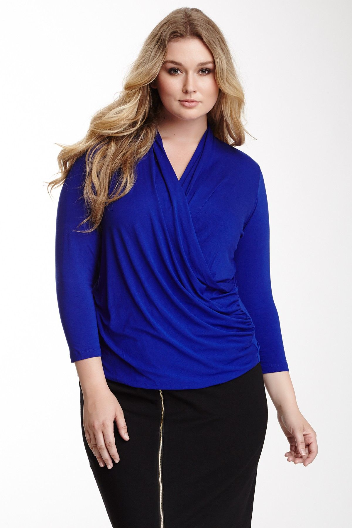 34 length sleeve faux wrap blouse blousewomen shirts