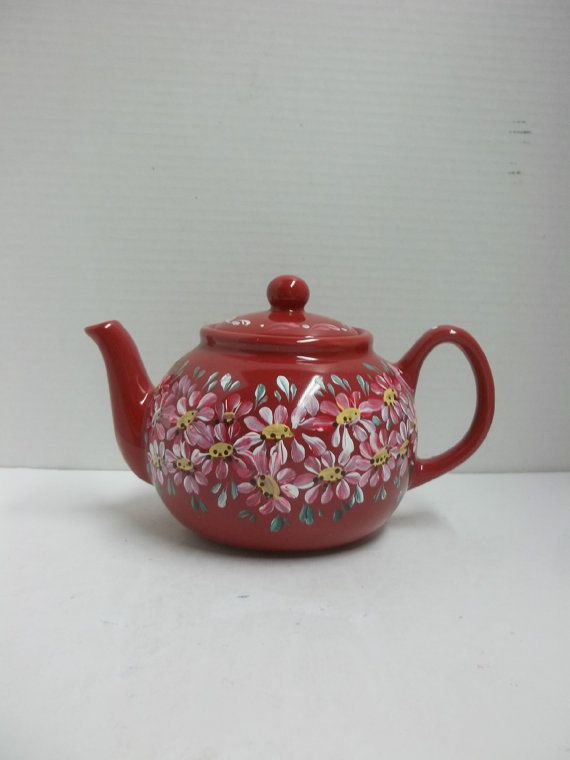 New Teapot Red Ceramic Six Cup Includes Infuser Hand Painted Original Scandinavian Design Swedish Norwe Tea Pots Norwegian Rosemaling Painted Wine Glasses