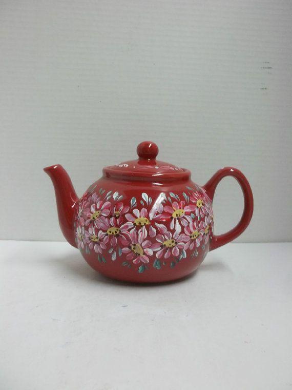New Teapot Red Ceramic Six Cup Includes Infuser Hand Painted Original Scandinavian Design Swedish Norwe Tea Pots Norwegian Rosemaling Painted Wine Glasses