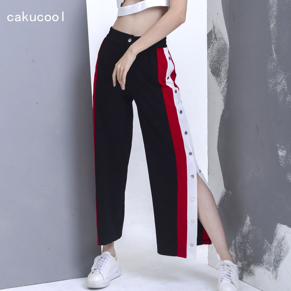 bad282bd19 [Free Shipping] Buy Best Cakucool New Women Casual Sweat Pants High Slit  Side Buttons Red White Striped Trousers Girls Loose wide leg Straight Black  Pant ...