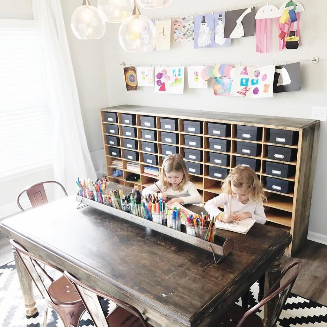 Formal Dining Room Turned Into A Kids Craft Room Such A Great Idea Kids Craft Room Dining Room Playroom Combo Dining Room Combo