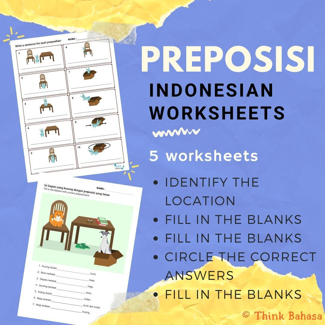Preposition In Indonesian Worksheets Amp Answer Keys