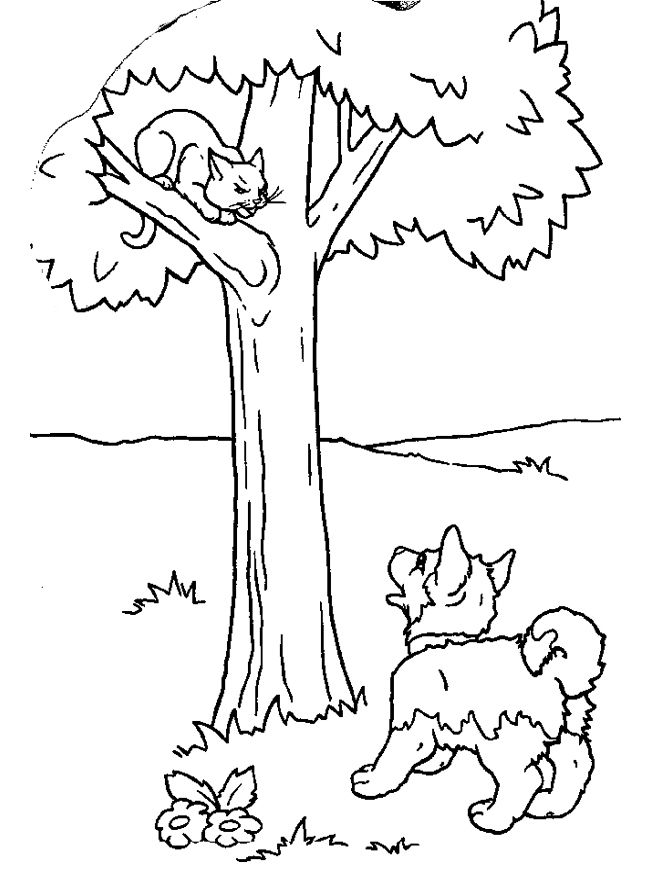 Puppies Coloring Pages And Kittens Page Kids