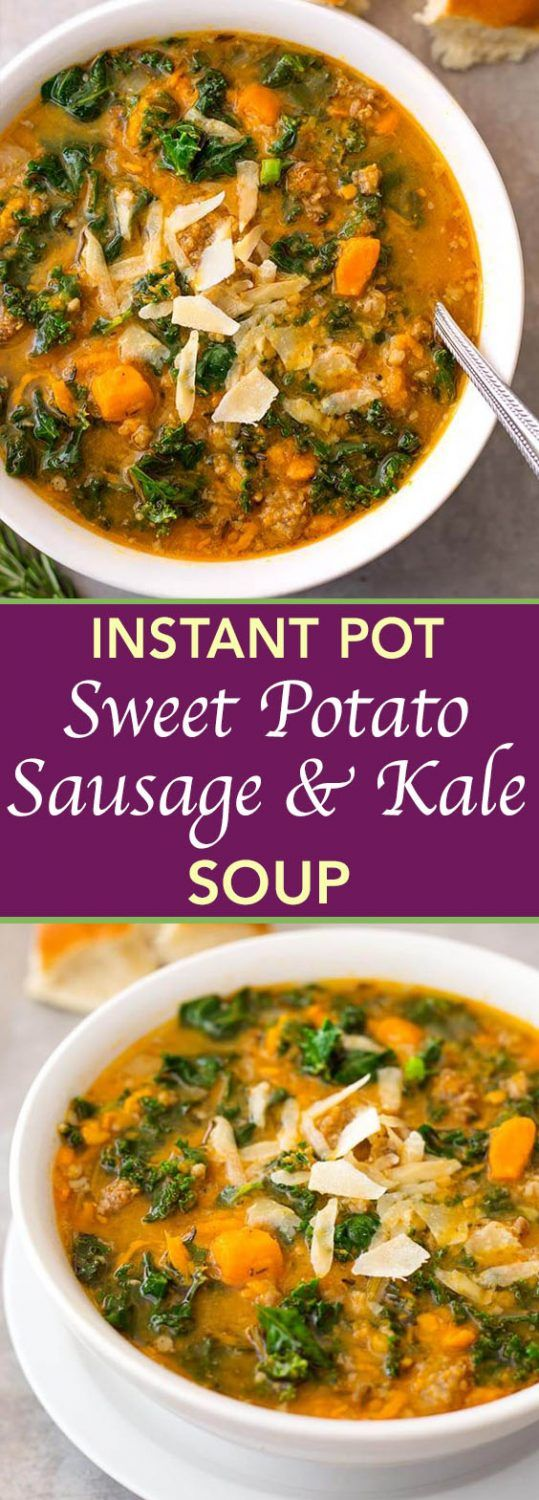 Instant Pot Sweet Potato Sausage and Kale Soup is a hearty, but not heavy soup with a ton of flavor. It is easy to make, and so very delicious, and even healthy! simplyhappyfoodie.com #instantpotrecipes #instantpotsweetpotatosausagekalesoup #instantpotsoup #pressurecookersoup #potatosoup